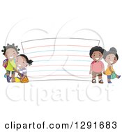 Clipart Of Happy Black School Children By A Giant Note Card Royalty Free Vector Illustration