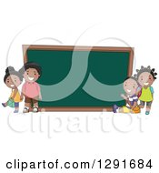 Clipart Of Happy Black School Children By A Giant Chalk Board Royalty Free Vector Illustration