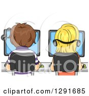 Clipart Of A Rear View Of Caucasian School Children Using Computers In A Lab Royalty Free Vector Illustration