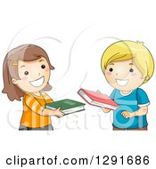 Clipart Of A Happy Brunette White School Girl And Blond Boy Exchanging Books Royalty Free Vector Illustration