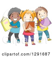 Clipart Of A Group Of Happy Children With Books Royalty Free Vector Illustration