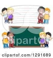 Clipart Of Happy White And Black School Boys By A Giant Chalk Board And Note Card Royalty Free Vector Illustration