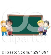 Clipart Of Happy White And Black School Boys By A Giant Chalk Board Royalty Free Vector Illustration by BNP Design Studio