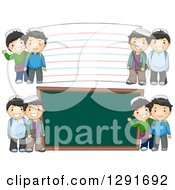 Clipart Of Happy Muslim School Boys By A Giant Chalk Board And Note Card Royalty Free Vector Illustration