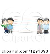 Clipart Of Happy Muslim School Boys By A Giant Note Card Royalty Free Vector Illustration by BNP Design Studio