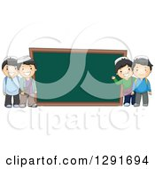 Clipart Of Happy Muslim School Boys By A Giant Chalk Board Royalty Free Vector Illustration by BNP Design Studio