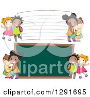 Clipart Of Happy White And Black School Girls By A Giant Chalk Board And Note Card Royalty Free Vector Illustration by BNP Design Studio