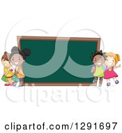 Clipart Of Happy White And Black School Girls By A Giant Chalk Board Royalty Free Vector Illustration by BNP Design Studio