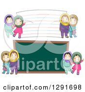 Clipart Of Happy Muslim School Girls By A Giant Chalk Board And Note Card Royalty Free Vector Illustration