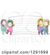 Clipart Of Happy Muslim School Girls By A Giant Note Card Royalty Free Vector Illustration by BNP Design Studio