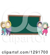 Clipart Of Happy Muslim School Girls By A Giant Chalk Board Royalty Free Vector Illustration