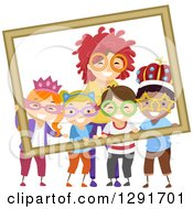 Clipart Of A Happy Woman And Children Wearing Wigs Glasses And Crowns For A Photograph Royalty Free Vector Illustration
