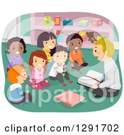 Clipart Of A Group Of Happy Sunday School Children Sitting And Listening To A Male Teacher Read From The Bible Royalty Free Vector Illustration
