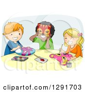 Clipart Of A Group Of Happy School Children Painting Masks In Art Class Royalty Free Vector Illustration