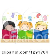 Group Of Happy Children Reading Books Under Numbers And Alphabet Letters