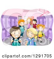Clipart Of A School Hallway With Happy Children And Purple Lockers Royalty Free Vector Illustration