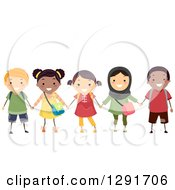 Clipart Of A Group Of Happy Diverse School Children Smiling And Holding Hands Royalty Free Vector Illustration by BNP Design Studio