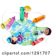 Clipart Of A Happy Group Of School Children Coloring Planet Earth With Crayons Royalty Free Vector Illustration