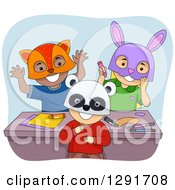 Clipart Of A Group Of Happy Preschool Children Wearing Animal Masks Royalty Free Vector Illustration