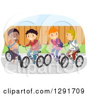 Clipart Of A Happy Group Of School Children Riding Their Bikes Royalty Free Vector Illustration
