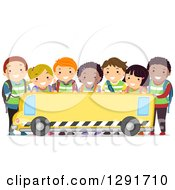 Group Of Happy Diverse School Children Over A Blank School Bus Banner