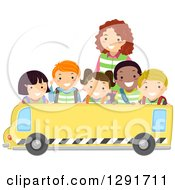 Clipart Of A Group Of Happy Diverse School Children And A Teacher Over A Blank School Bus Banner Royalty Free Vector Illustration