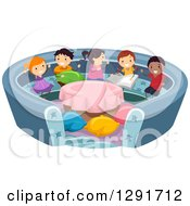 Clipart Of A Group Of Happy Children Playing In A Conversation Pit Royalty Free Vector Illustration