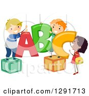 Clipart Of A Happy Girl And Boys Hanging ABC Alphabet Letters Royalty Free Vector Illustration