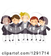 Clipart Of A Group Of Happy Private School Girls In Uniforms Royalty Free Vector Illustration
