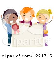 Clipart Of A Cheering Girl And School Boys Around A Blank Certificate Royalty Free Vector Illustration