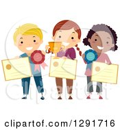 Clipart Of Proud School Children Holding Awards Trophies And Ribbons Royalty Free Vector Illustration