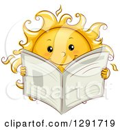 Clipart Of A Happy Sketched Sun Character Reading A Newspaper Royalty Free Vector Illustration