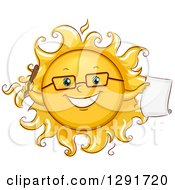 Clipart Of A Happy Sketched Sun Character Student Holding A Pen And Paper Royalty Free Vector Illustration