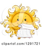 Clipart Of A Happy Sketched Sun Character Reading A Letter Royalty Free Vector Illustration