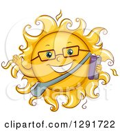 Clipart Of A Happy Sketched Summer School Student Sun Character Waving And Holding Books Royalty Free Vector Illustration