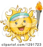 Clipart Of A Happy Sketched Sun Character Wearing A Visor And Holding A Torch Royalty Free Vector Illustration