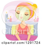 Clipart Of A Relaxed Blond Caucasian Woman Sitting In Bed With A Facial Mask And Candles Royalty Free Vector Illustration