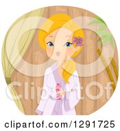 Clipart Of A Blond Caucasian Woman In A Robe Against Wood Royalty Free Vector Illustration