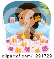 Clipart Of A Happy Black Woman Soaking In A Floral Bath Royalty Free Vector Illustration by BNP Design Studio