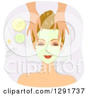 Clipart Of A Relaxed Brunette Caucasian Woman Getting A Facial Mask Applied And A Massage At A Spa Royalty Free Vector Illustration by BNP Design Studio
