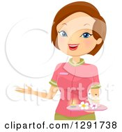 Clipart Of A Friendly Brunette Caucasian Female Spa Receptionist Welcoming Royalty Free Vector Illustration