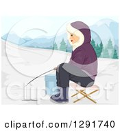 Happy Caucasian Woman Ice Fishing In The Winter