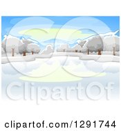 Clipart Of A Frozen Winter Lake With Trees On A Winter Day Royalty Free Vector Illustration