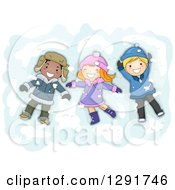 Clipart Of A Group Of Happy White And Black Children Making Snow Angels Royalty Free Vector Illustration