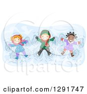 Clipart Of A Happy White And Black Children Playing And Making Snow Angels Royalty Free Vector Illustration by BNP Design Studio
