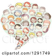 Group Of Doodled Diverse Faces Of Children Forming A Speech Balloon
