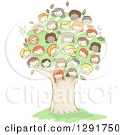 Group Of Doodled Diverse Faces Of Children Forming A Tree