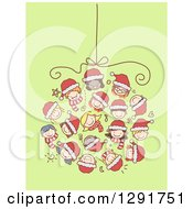 Group Of Doodled Diverse Faces Of Children Forming A Christmas Bauble Over Green