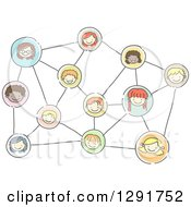 Clipart Of A Doodled Network Of Happy Social Children Royalty Free Vector Illustration