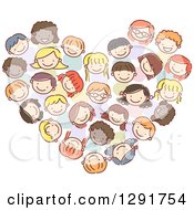 Clipart Of A Doodled Group Of Diverse Children Forming A Heart Royalty Free Vector Illustration